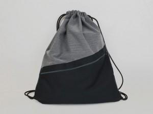 Turnbeutel Grau Meliert / Schwarz