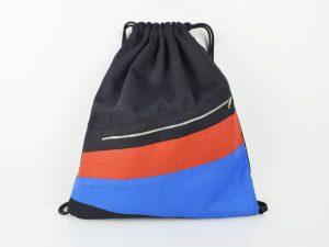 Turnbeutel Schwarz / Rot & Blau