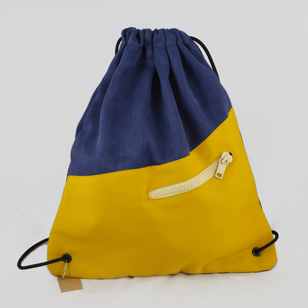 Turnbeutel Jeans-Blau / Gelb