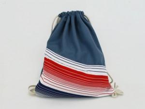 Turnbeutel Taubenblau / Streifen