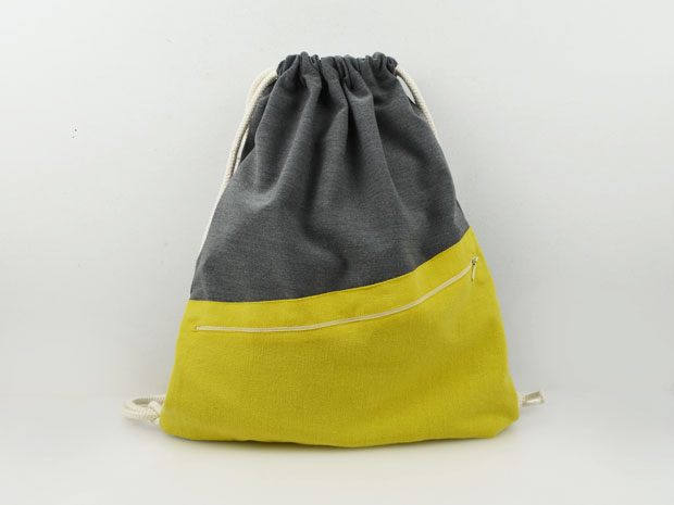 Turnbeutel Grau Meliert / Gelb