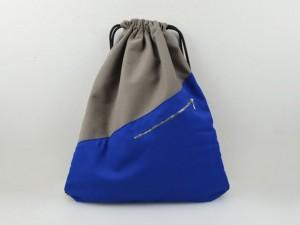 Turnbeutel Taupe / Blau
