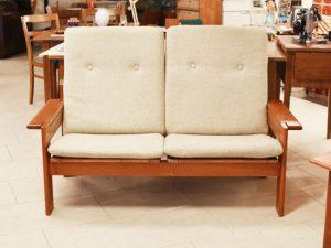 Zweier Sofa / Teak / H 92cm x B 145cm x T 80cm