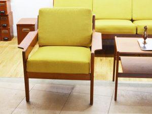Teakholz Sessel mit senfgelbem Bezug / A. W. Iversen, DK / neu bezogen