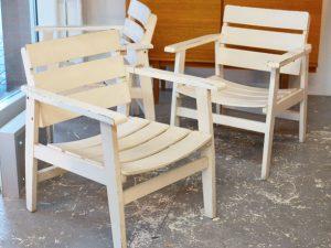Gartenstühle / Holz / Weiß Lackiert