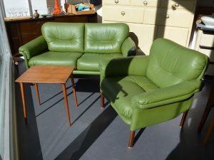 Grünes Sofa mit einem Sessel (Leder)