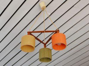 Deckenlampe / Teak & Textil
