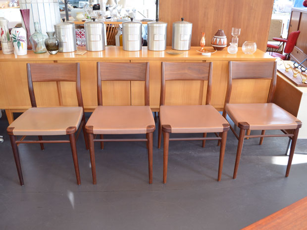 4er Set Stühle mit Lederbezug / Georg Leowald für Wilkhahn