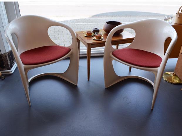 2er Set Casala Stühle / Kunststoff lackiert, neu bezogen