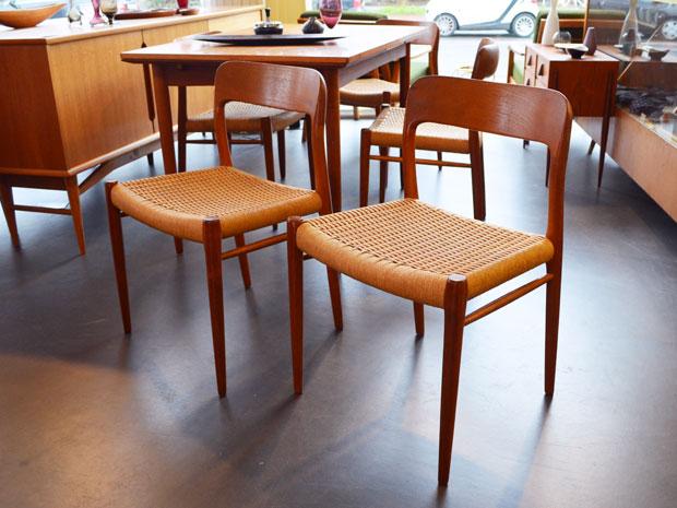6er-Set Stühle / Modell 75 von Niels O. Møller für J.L. Møllers