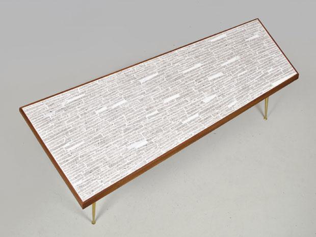Asymmetrischer Mosaik Couchtisch, Messing & Teakholz, 1950er
