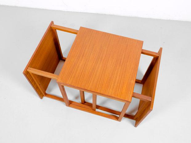 Würfelförmige Vintage Satztische aus Teakholz von Kai Kristiansen für Vildbjerg Møbelfabrik, 3er Set