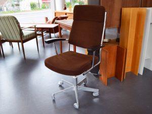 Schreibtischstuhl / Aluminium, Stahlrohr, Kord / höhenverstellbar