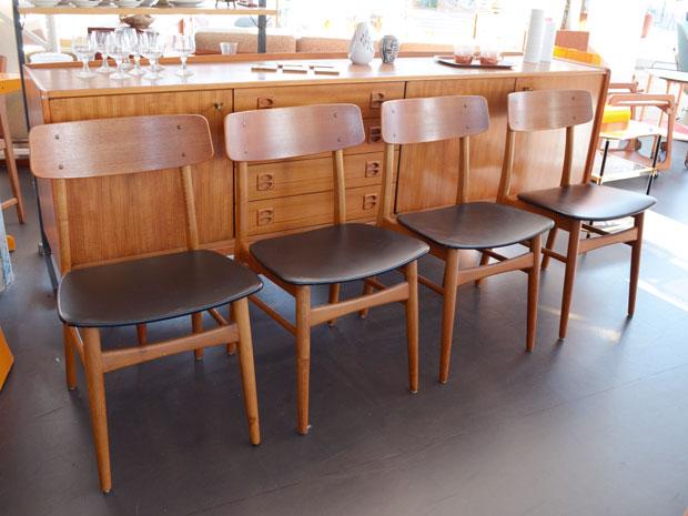 4er Set Stühle / Teak, Eiche, Skai
