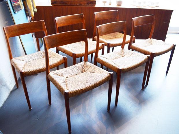 6er Set Teak Esszimmerstühle / Modell 77 / Niels Møller für J.L. Møllers