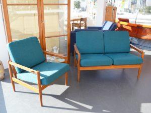 Sessel und Zweisitzer / neu bezogen / Jensen & Korinth für Bernstorffsminde Møbelfabrik, Dänemark