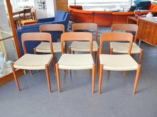 6er-Set Teakstühle Niels Møller, Dänemark / Garngeflecht