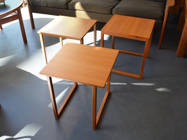 Dreierset Satztische / Würfel / Teakholz / Kai Kristiansen für Vildbjerg Møbelfabrik, DK / Preis: 150 €