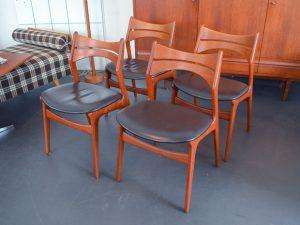 8er-Set Esszimmerstühle von Erik Buch für Christian Christensen / Modell 310 / Teak & Leder