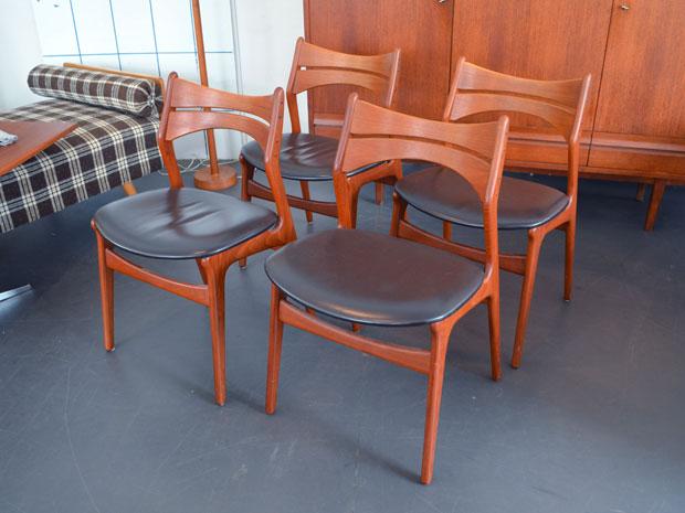 6er-Set Esszimmerstühle von Erik Buch für Christian Christensen / Modell 310 / Teak & Leder