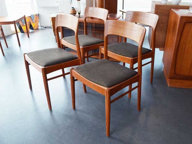 4er-Set Teak Stühle von Henning Kjærnulf für Korup Stolefabrik