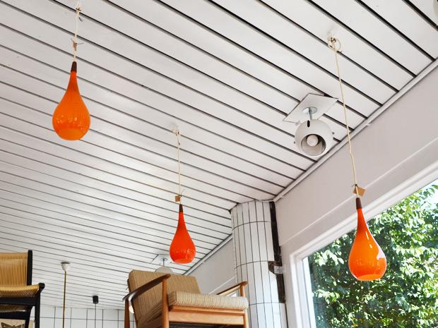 Drei Deckenleuchten / Oranges Glas / Holmegaard, Dänemark